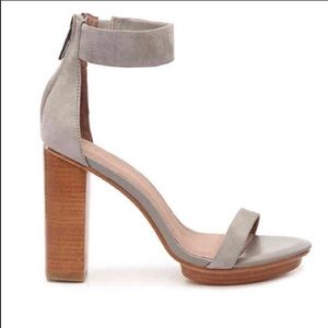 JOIE Thelma Suede Ankle-Strap Block Heel Sandals